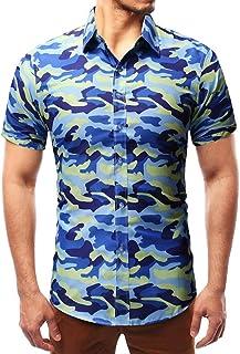 ffbcc0fb50c DOGZI Camisas Militar Hombre - Manga Corta Estampado de Camuflaje Casual  Slim Fit botón Militar Camiseta