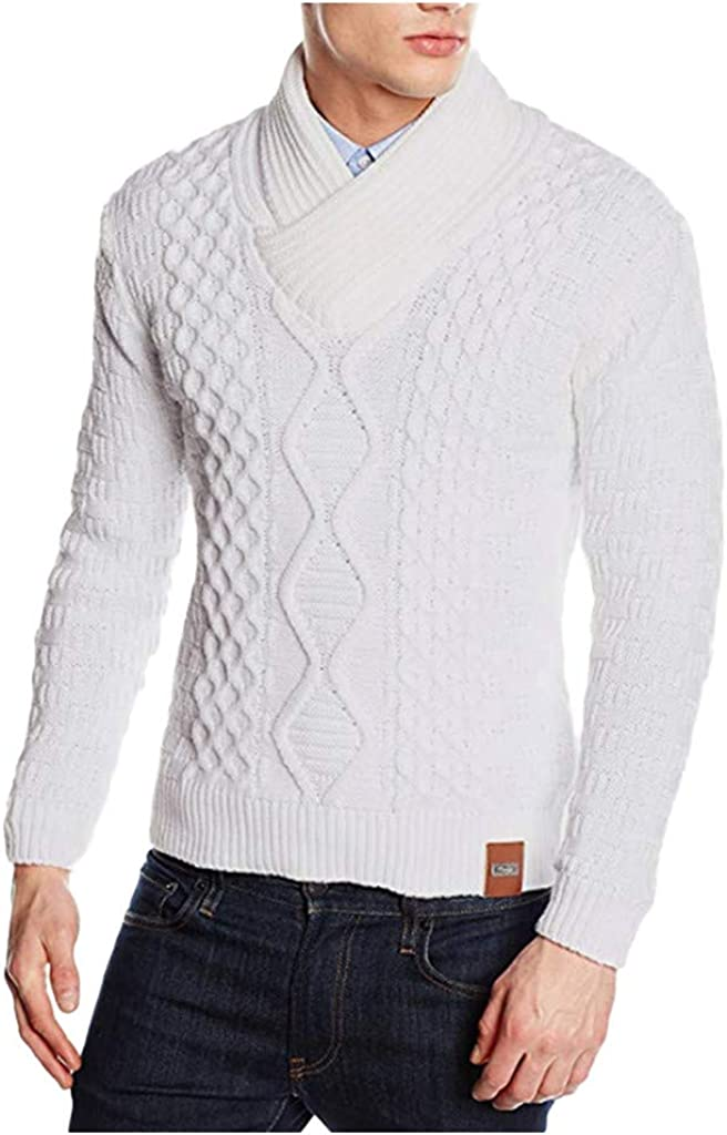 Men's Pullover Sweater Long Sleeve Warm Soft Knitwear Top for Autumn Winter