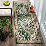 Safavieh Monaco Collection MNC243F Bohemian Chic Medallion Distressed Area Rug, 2' 2' x 6', Forest Green/Light Blue