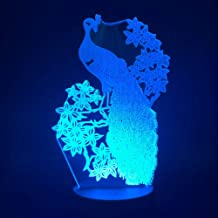 3D Lamp Peacock Night Light for Kids Color Change Animal Lamp for Living Room Led Night Light with Drop   Shipping