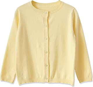 Pandapang Girls Open Front Button Down Solid Color Knit Casual Sweater Cardigan