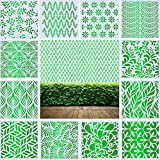 12 plantillas de pared grandes motivos hojas 30 x 30 cm, plástico efco de panal reutilizable para paredes, muebles, suelos, azulejos, madera, diseño textil, diario, scrapbook DIY decoración del hogar
