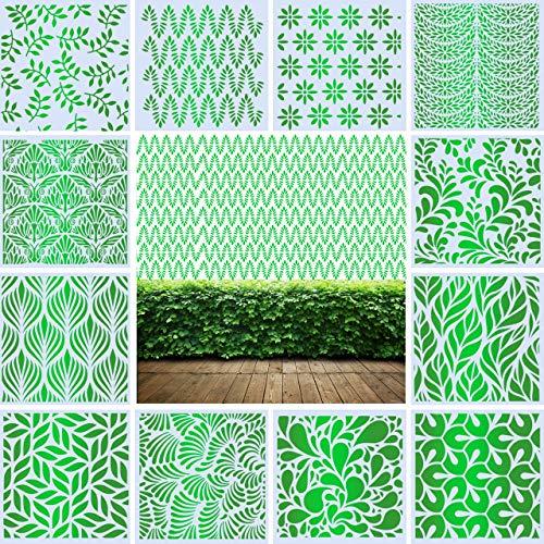 12 plantillas de pared grandes motivos hojas 30 x 30 cm, plástico efco de panal reutilizable para paredes, muebles, suelos,...
