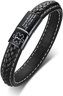 Leather Medical ID Bracelets for Men Personalized Diabetic Allergy Medic Alert Magnetic Clasp ID Bracelet for Men