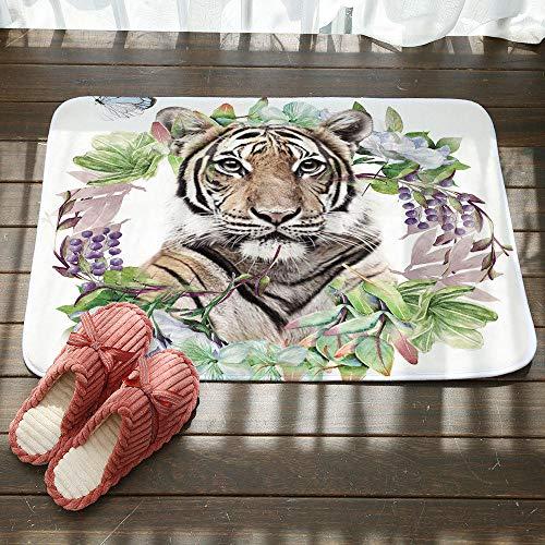 Entree deurmatten, 3D geprinte slinger tijger dier anti-slip ingang deur mat, welkom vloermat slaapkamer gang tapijt rechthoek zachte deur mat voor thuis woonkamer keuken 50×80cm