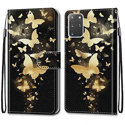 Nadoli Bunt Leder Hülle für Samsung Galaxy S20 Plus,Cool Lustig Tier Blumen Schmetterling Entwurf Magnetverschluss Lanyard Flip Cover Brieftasche Schutzhülle mit Kartenfächern