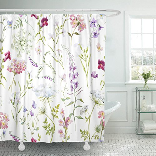TOMPOP Shower Curtain Watercolor Floral Pattern Delicate Flower Wildflowers Pink Tansy Pansies Waterproof Polyester Fabric 72 x 72 Inches Set with Hooks