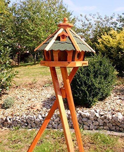 holzdekoladen Vogelhaus, Vogelhäuser mit und ohne Ständer behandelt Typ 23 (Grün, mit Ständer)