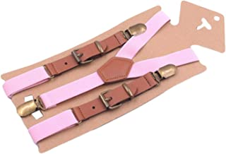 AYOSUSH Kids Suspenders for Boys Baby with 3 Bronze Clips Y Back Vintage Leather