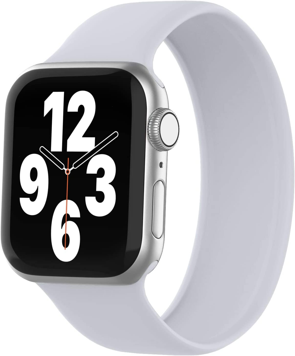WASPO Solo Loop Band Compatible with Apple Watch Band 38mm 40mm 42mm 44mm, Sport Elastic Silicone Bands with No Clasps or Buckles Compatible for iWatch Series 6/SE/5/4/3/2/1(38mm/40mm-S, Fog)