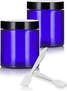 Cobalt Blue Glass Straight Sided Jars - 4 oz / 120 ml (2 pack) + Spatulas - Airtight, Smell Proof, BPA Free Lids