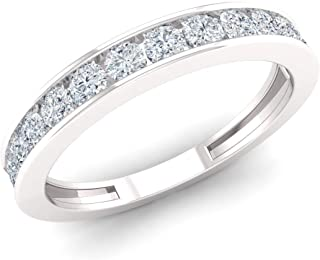 Natural and Certified Diamond Channel Wedding Ring in 10K White Gold | 0.5 Carat Diamond Wedding Band for Women, US Size 4 to 9