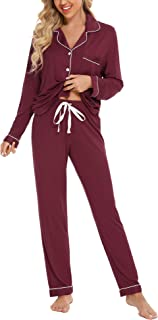 Anjue - Pijama de manga larga para mujer, con botones y botones, color algodón con cuello en V S-XXL