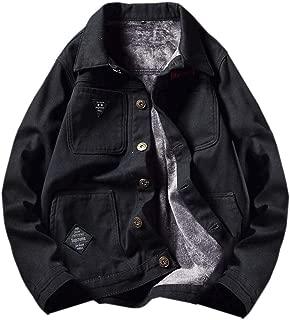 Men Winter Warm Button Down with Velvet Plus Size Denim Jacket Coat