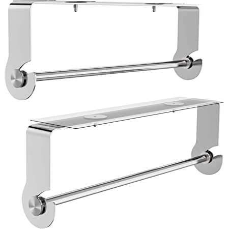 SMARTAKE 2-Pack Paper Towel Holder with Adhesive Under Cabinet, Wall Mounted & No Drilling, Removable Hanging Stainless Steel Paper Towel Rack for Home Kitchen, Easy Tear, Silver
