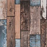 Livelynine Teal Wood Wallpaper Stick and Peel Shiplap Wall Paper Self Adhesive Wood Contact Paper Decorative Shiplap Bulletin Board Paper Vintage Removable Waterproof 17.7'x78.8'