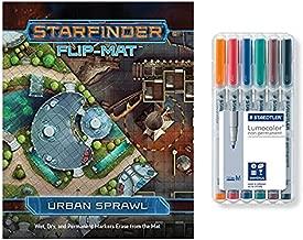 Starfinder RPG Urban Sprawl Flip Mat + Staedtler Non-Permanent Markers (6 Pack)