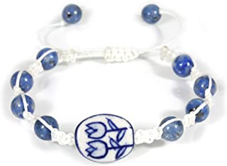 """Dutch Blue and White"", Hand-painted Porcelain Shamballa Bracelet with Lapis Lazuli, Adjustable"