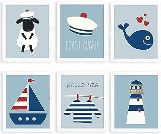 Nursery Wall Decor, Baby Room Decor, Baby Nursery Decor, Hello Sea Nursery Decor for Boys, Coast Guard Baby Wall Decor, Nu...
