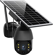 Solar Powered Wireless Security Camera Outdoor,Pan Tilt WiFi Home Smart Cam System Waterproof with Spotlight,Batteries,Sol...