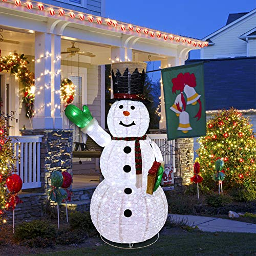 MorTime 6FT Lighted Christmas Portable Snowman, LED Xmas Snowman Decor for Christmas Outdoor Yard Party Shopping Mall Decorations