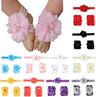 Baby Headbands 10/12 PCS Big Bow Toddler Girl Hair Accessories Barefoot Sandals Baby Shoe Socks for Newborn Infant