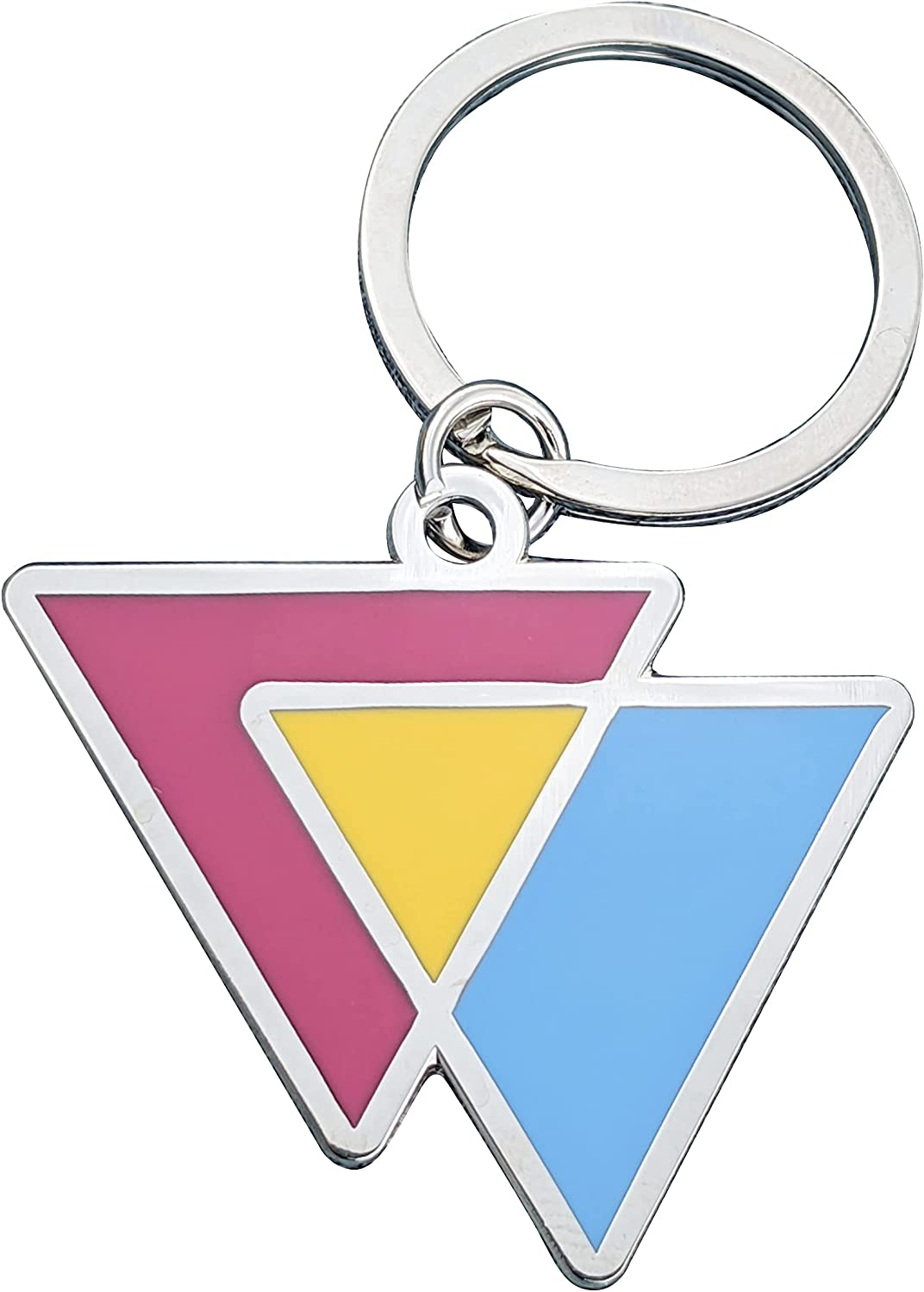 Pansexual Flag Triangles Pink Yellow and Blue LGBTQ Support Pride Symbol - 1.75 inch Enamel Keychain with Keyring