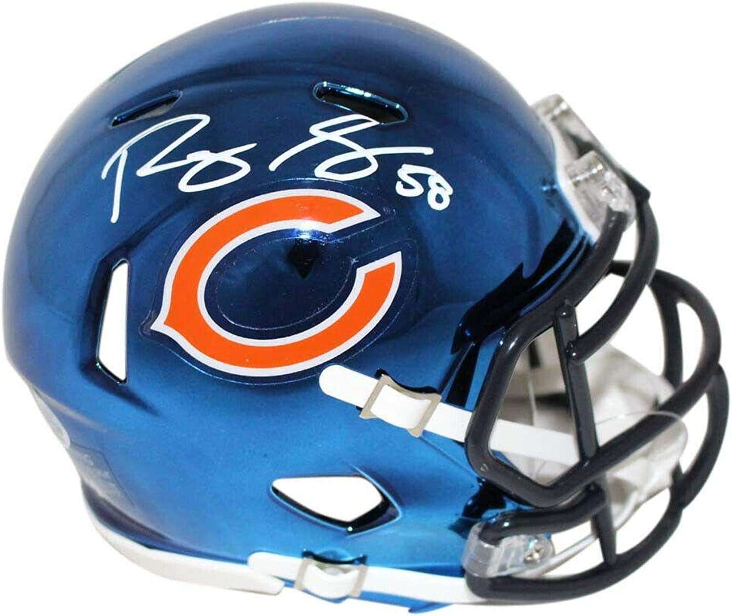 Signed Roquan Smith Mini HelmetChrome BAS 24106Beckett AuthenticationAutographed NFL Mini Helmets