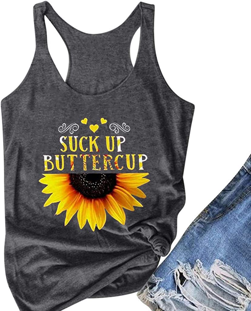 Top Sleeveless Vest Sunflower Fahion Print Camisoles Tanks Tops Women Blouse Ladies Fashion Crew Neck Shirts