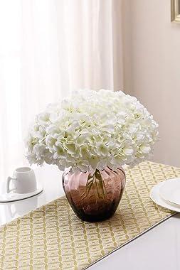 Aviviho White Hydrangea Silk Flowers Heads Pack of 10 Ivory White Full Hydrangea Flowers Artificial with Stems for Wedding Ho