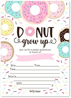 25 Donut Kids Birthday Party Invitations, First Baby Shower Invites, Boy or Girl 1st Bday or Gender Reveal Theme, Doughnut Grow Up Children Toddler Themed Supplies, Printed or Fill in The Blank Cards