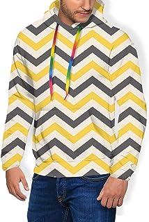 GULTMEE Men's Hoodies Sweatershirt, Large Zigzags in Retro Design Geometrical Horizontal Tile,5 Size