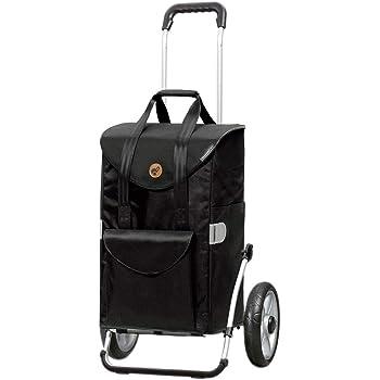 Andersen Einkaufstrolley Royal mit kugelgelagertem Rad 25 cm und Einkaufstasche Senta schwarz 49 Liter