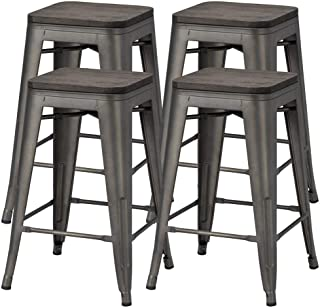 Topeakmart 24 Inches Counter Height Barstools w/Wood Seat Set of 4 Metal Counter Stool Kitchen Island Pub Dining Bar Chairs Rustic, 331Lb Black
