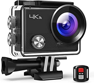 Upgraded APEMAN Action Camera 4K WiFi 16MP Waterproof Underwater Diving Camera UHD Sport Cam, 2.4G Remote Control, 2 Rechargeable Batteries, 20 Accessories Kits