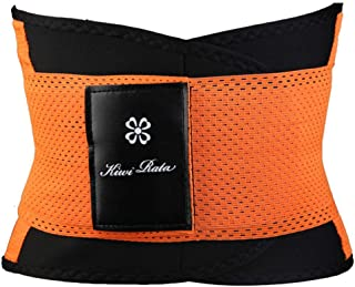 Women Men Fitness Belt Xtreme Power Thermo Sweat Body Shaper Waist Trainer Trimmer Corset Wrap Workout Shapewear Slimming Makfacp (Color : Orange, Size : S)