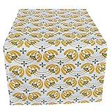 CUSHYSTORE Ylang-ylang - Camino de mesa tropical de polen, color amarillo y amarillo, flor de floración, 100 % algodón, 33 x 122 cm