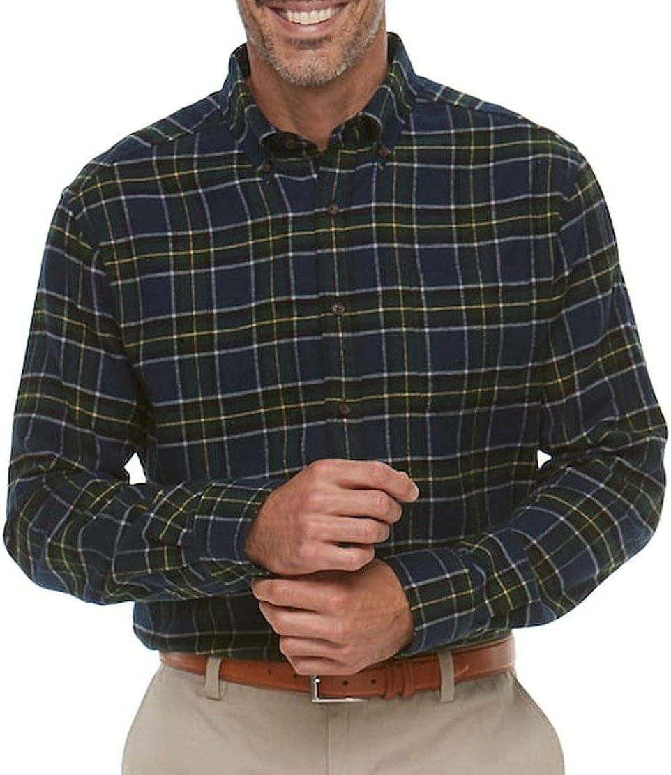 Croft & Barrow Mens Classic Fit Flannel Shirt Green Navy Plaid
