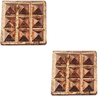 Divya Mantra Set of 2 Pure Copper Plates with 9 Wish Pyramids Yantra Wall/Door Sticker, Vastu Dosh Nivaran, Good Luck, Money, Vaastu Shastra Remedy, Protection Amulet- Home, Office Decor Item - Brown