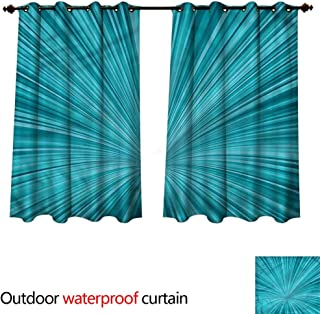 cobeDecor Teal Outdoor Curtains for Patio Sheer Abstract Vortex Design W120 x L72(305cm x 183cm)
