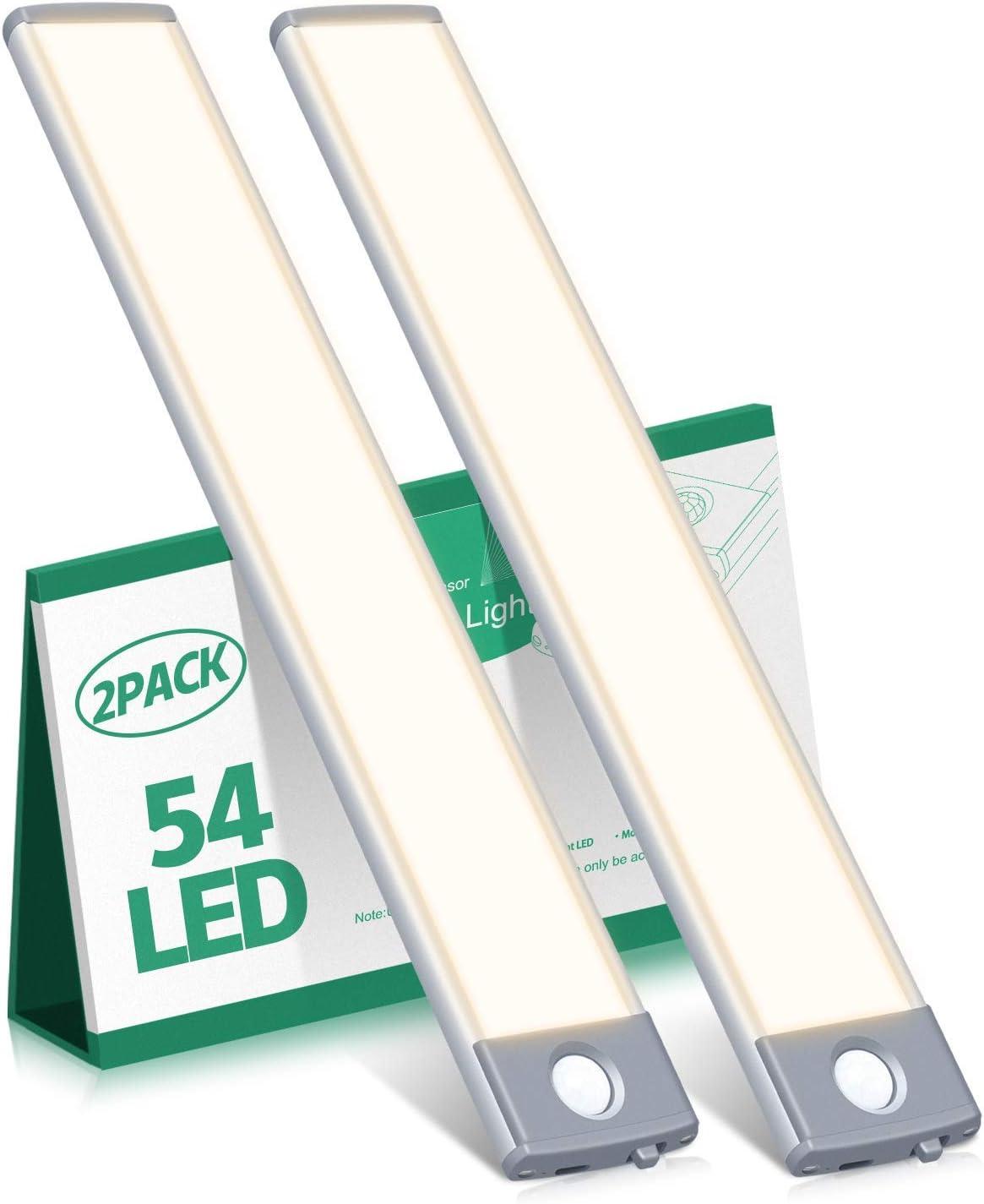 Motion Sensor Cabinet Light 2500mAh 2 Packs Rechargeable 54LED U