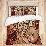 Cómodo juego de funda nórdica para dormitorio, detalles de relojes mecánicos, estilo antiguo y oxidado, engranajes de fondo, diseño Steampunk, juego de ropa de cama suave de lujo de 3 piezas (sin edre