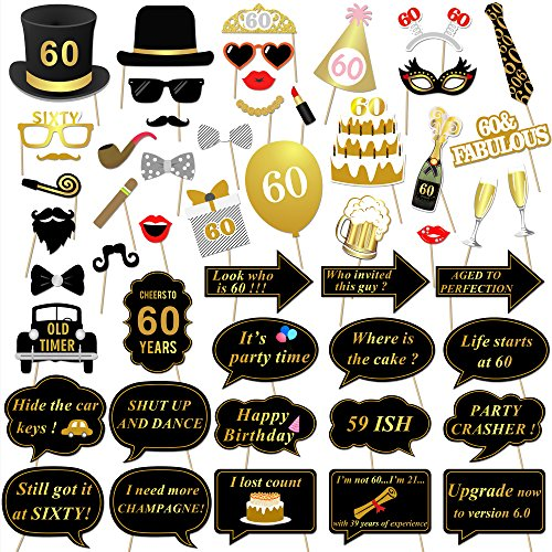 Konsait 60th Birthday Party Photo Booth Props (51Count) for Her Him 60th Birthday Gold and Black Decorations, Big 60 Birthday Party Supplies for Men and Women