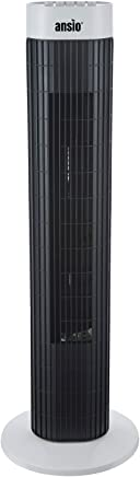 ANSIO Tower Fan 30-inch For Home and Office, 3 Hours Timer, 3 Speed Oscillating Cooling Fan with 2 Year Warranty - Black & White