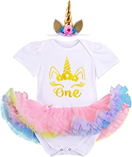 IBTOM CASTLE Baby Kids Newborn It's My 1st Birthday Cake Smash Outfits Romper+Shoes+Headband for Girl Tutu Princess Dress Set