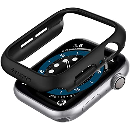 Spigen Thin Fit Cover Case Compatible with Apple Watch Series 6 | SE | Series 5 | Series 4 (44mm) - Black