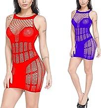 Ulily 2 Pack Womens Fishnet Lingerie Striped Mini Dress Strap Chemise Red+Purple