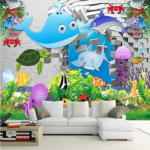 Wuyii 3D-aangepaste cartoon behang wit baksteen steen fotobehang kinderen onderwaterwereld blad behang wooncultuur voor kinderkamer 250x175cm