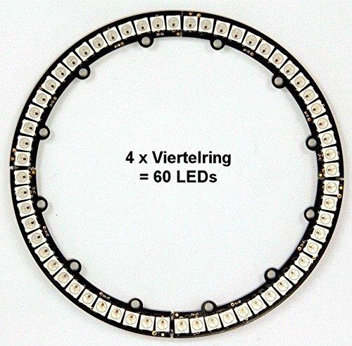 4 x DIGI-DOT Viertelring mit je 15 X WS2812B LEDS