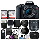 Canon EOS Rebel T7i Digital SLR Camera with EF-S 18-55mm f/4-5.6 IS STM Lens + 58mm Wide Angle Lens + 2x Telephoto Lens + Flash + 64GB SDHC Memory Card + UV Filter Kit + Tripod - Full Accessory Bundle